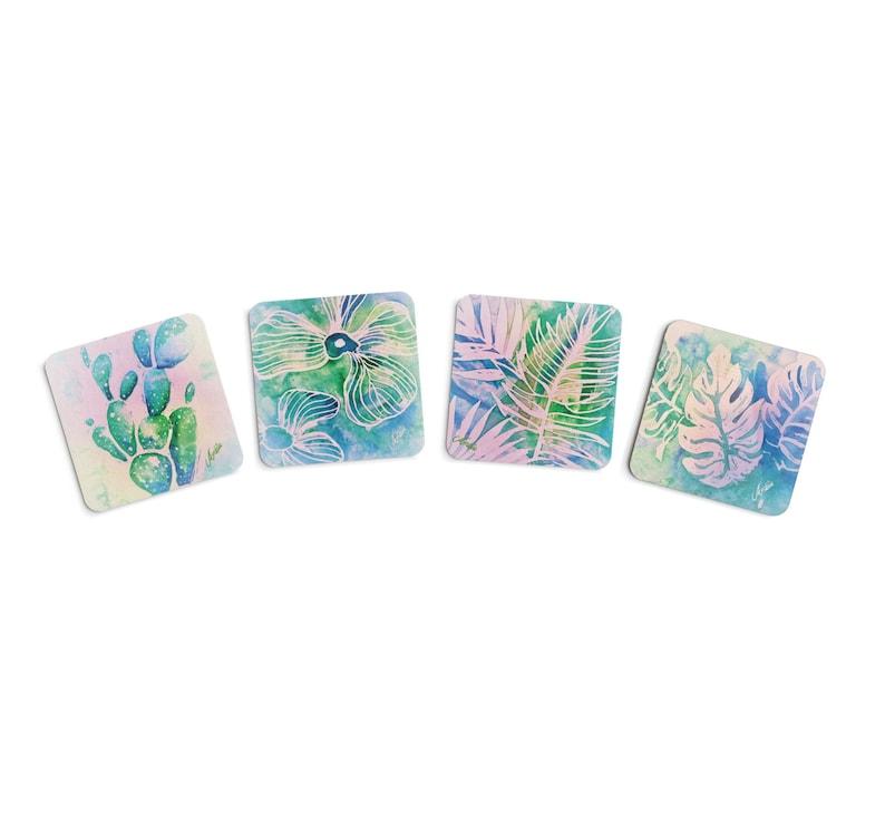 Set of 4 Coasters Floral & Leaf Art image 0