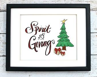Christmas Tree, Christmas Printable Art, Christmas Clipart, 8x10 Digital Graphic, Hand Drawn, Instant Download, Holiday Decor, Wall Art