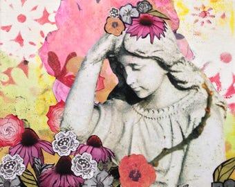 """Carte de souhaits, """"Pour Susan"""", 6 x 6 pouces, sans texte, fleurs, impression"""