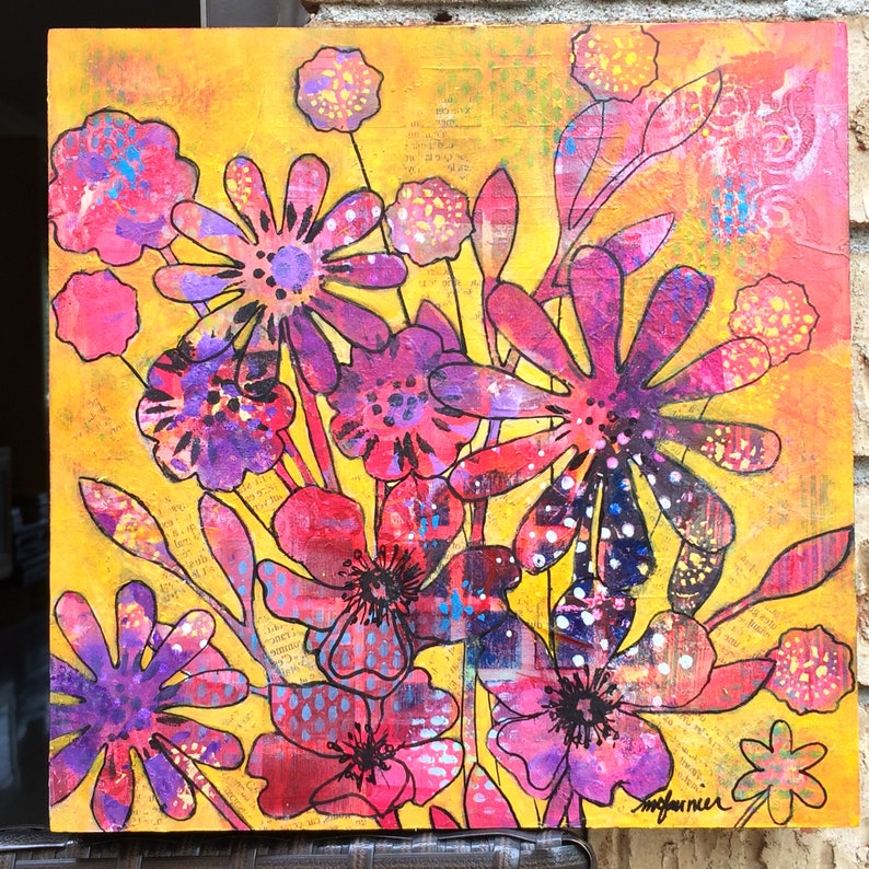 flowers painting full sun art and collections spring Deco 10 x 10 summer contemporary canvas Mixed technique on wood