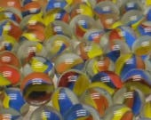 65 Vintage Marbles - 3 Vane Superman Cat 39 s Eye - 5 8 quot - New Old Stock Free Shipping