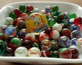 50 Cheerful Marbles Mix 1 Mammoth Shooter Drawstring Bag - Ultra Premium - Jabo, Mega, Vitro, Champion, Marble King Happy Holidays