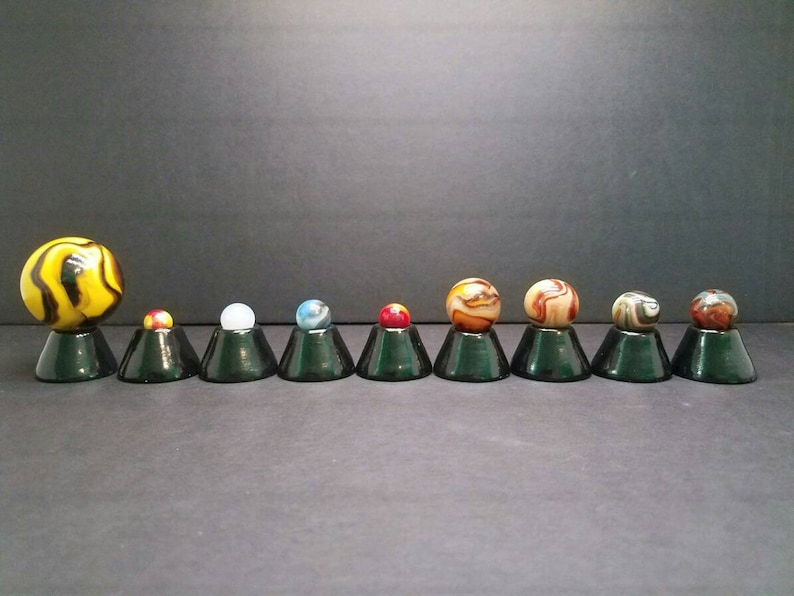 Premium Marbles Solar System Model - Planet Sizes are Approximately  Proportioned to Scale + Demo Booklet + Drawstring Bag