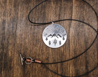 Scenic Pendant Hand Stamped Nature Lovers Hiking Explore Mountains Are Calling Camping