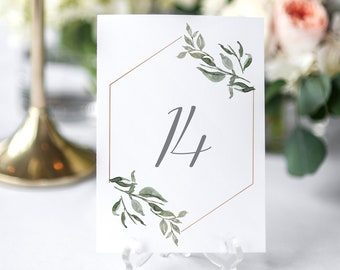 Greenery Eucalyptus Wedding Table Numbers, Printable Table Numbers, Wedding Table Decor, Botanical Table Numbers