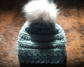 Crochet Baby Hat with Pom Pom, Winter Hat, Cozy, Warm, Hand Knit Hat, Handmade in USA
