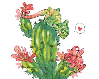 Chameleon Love Greeting Card