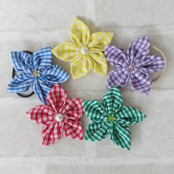 3 Inch Handmade Glitter Gingham School Uniform Bow Red//Blue//Green//Purple