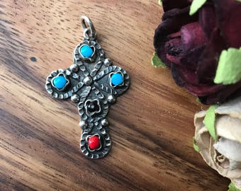 Mexico 925 Sterling Silver Southwestern Vintage Cross Pendant