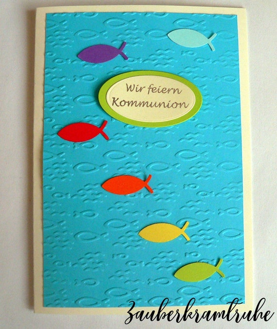 10 Karten Zum Selber Basteln Regenbogen Fische Meer Einladung Mit Wir Feiern Kommunion Diy