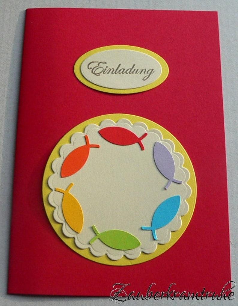 Einladungen Zur Konfirmation Selber Basteln Mit Dem Bastelset Regenbogenfische 10 Diy Karten In Rot Auch Für Taufe Und Kommunion
