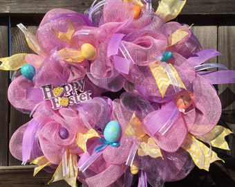 Pink and Purple Happy Easter Mesh Weeath