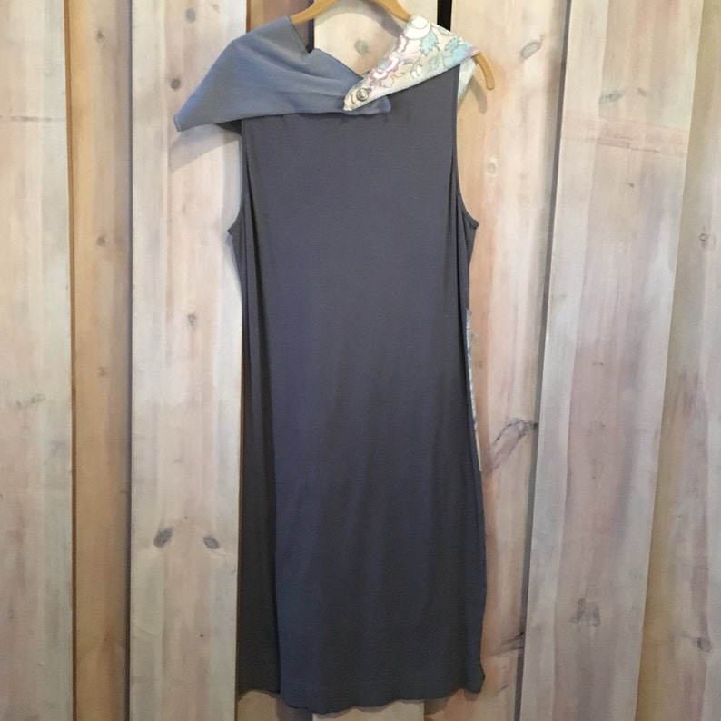 Detachable Scarf Upcycled Clothing Handmade Dress Upcycled Clothing Floral Insets  by Green Street Apparel Slim Gray Slim Dress