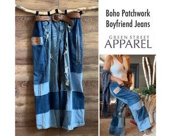 BOHO funky retro upcycled boyfriend jeans | XL womens | patchwork jeans | festival outfit | denim fashion
