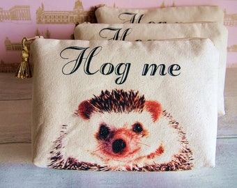 Hedgehog pouch, Hedgehog gifts, Hedgehog Purse, Hedgehog print, Woodland animal pouch, Hedgehog Makeup bag,Woodland pouch, Mothers day gift