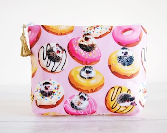 Donuts Hedgehog pouch, Hedgehog gifts, Hedgehog Purse, Doughnuts print pouch, Hedgehog Makeup bag,Woodland pouch, Mothers day gift