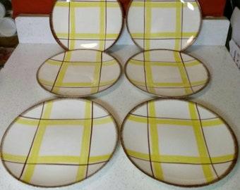 Vintage Knowles Plaid Dinner Plates
