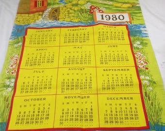 1980 Calendar Kitchen Tea Towel