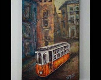 """Original oil painting """"Lisboa Trams""""  by artist Pamela Platt 8 x 16"""""""