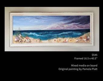 """Framed, 3D Beach and Sand Dunes, original mixed media painting by artist Pamela Platt 16.5x40.5"""""""