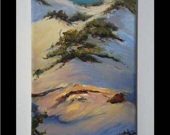"""Original oil painting """"Beach Dune""""  by artist Pamela Platt 6 x 10"""""""