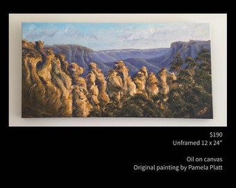 "Original oil painting ""The 3 Sisters at Dusk""  by artist Pamela Platt 12 x 24"""