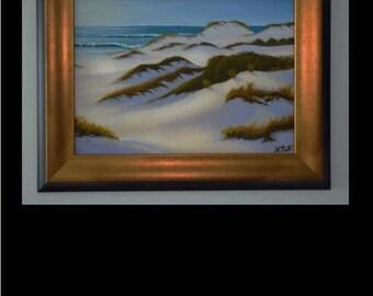 "Framed, Beach and Sand Dunes, original oil painting by artist Pamela Platt 15.5 x 19.5"""