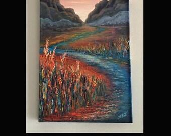 "Original mixed media painting ""Winding Rivers""  by artist Pamela Platt 12 x 24"""