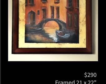 "Framed original acrylic painting ""Venetian Waters"" by artist Pamela Platt 21 x 22"""