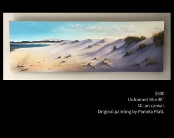 """Beach Sand Dunes, original oil painting by artist Pamela Platt 16x48"""""""