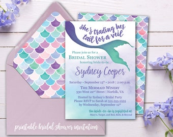 mermaid bridal shower invitation printed or printable bridal shower invitations nautical watercolor mermaid invite
