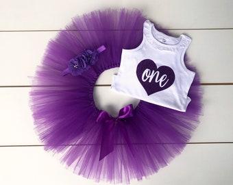 3 Piece Purple Cake Smash Outfit - First Birthday Set