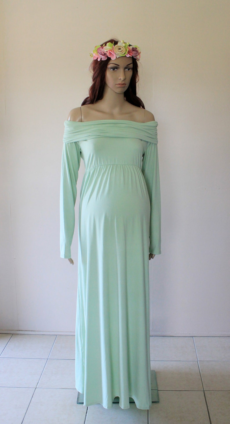 64cd3f87bc4f Pastel Green Off Shoulder Maternity Dress Gown Drape Photo