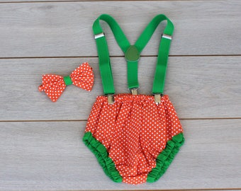 Orange & Emerald Green Polka Dot Cake Smash Outfit