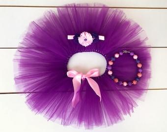3 Piece Light Pink & Purple Cake Smash Outfit / First Birthday Set