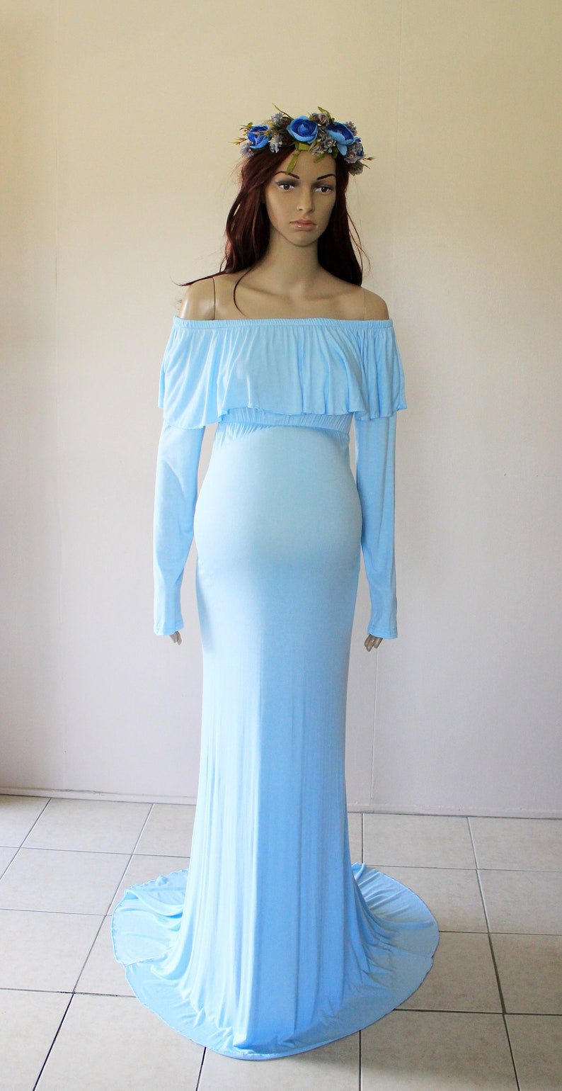 607eef79afb35 Baby Blue Off Shoulder Maternity Dress Gown Drape Photo | Etsy
