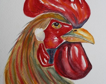 Rooster Watercolor Art Print, Kitchen Home Décor, Rooster Wall Art, Rooster Art, Country Art, Rooster Print, Watercolor Print, Signed Print