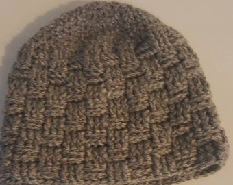 basket weave crochet womens hat soft caron yarn fits most