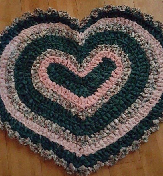 Heart Crochet Accent Rug Chic Cotton Rag Rug Farmhouse Art