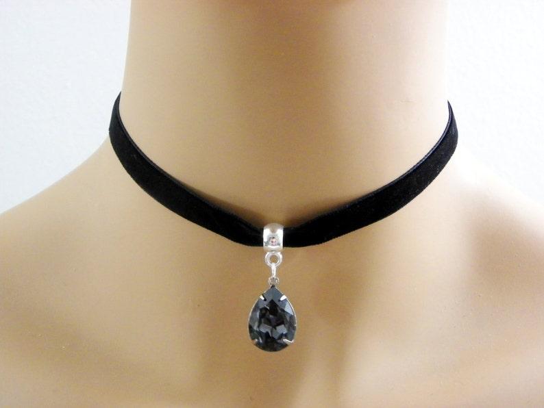 2ede6ebfcb Black Velvet Choker Necklace Black Diamond 10mm BLACK Velvet | Etsy