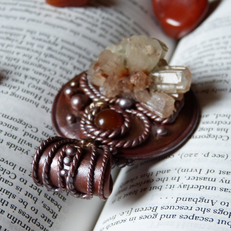 Crystal pendant polymer clay agate and aragonite