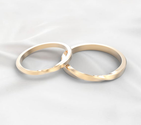 Couple Ring Bands 1 Pair 14k Solid Yellow Gold Ring Design Etsy