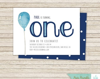 1st Birthday Invitation First Boys Party Pack Printable One Balloon