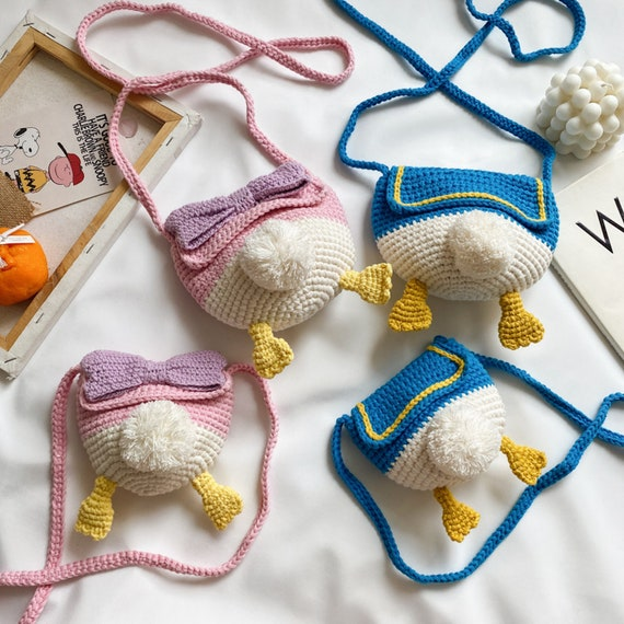 Crochet crossbody bags handmade bags amigurumi crossbody bags crochet duck bag gift for her handmade duck bag gift for girls