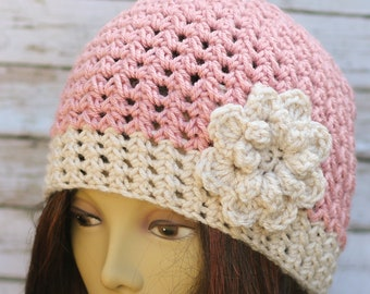 Knit Look Crochet Beanie / Pink and Cream with flower/ Crochet beanie hat / Crochet flower / Women's Hat / Crochet hat Pattern / Teen hat