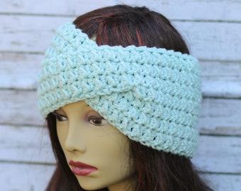 Light Blue Twisted, textured Crochet headband - crochet headwrap - womens headband - crochet earwarmer