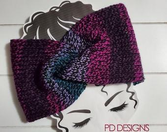 Plum Tweed Knit Twisted Ear Warmer Headband | Turban Headband | Ear Warmer | Wide Headband | Head Wrap | Fall Wear