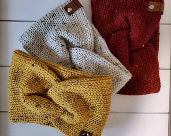 Tweed Knit Twisted Ear Warmer Headband | Turban Headband | Ear Warmer | Wide Headband | Head Wrap | Fall Wear