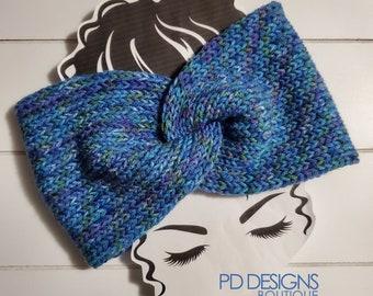 Ocean Knit Twisted Ear Warmer Headband | Turban Headband | Ear Warmer | Wide Headband | Head Wrap | Fall Wear