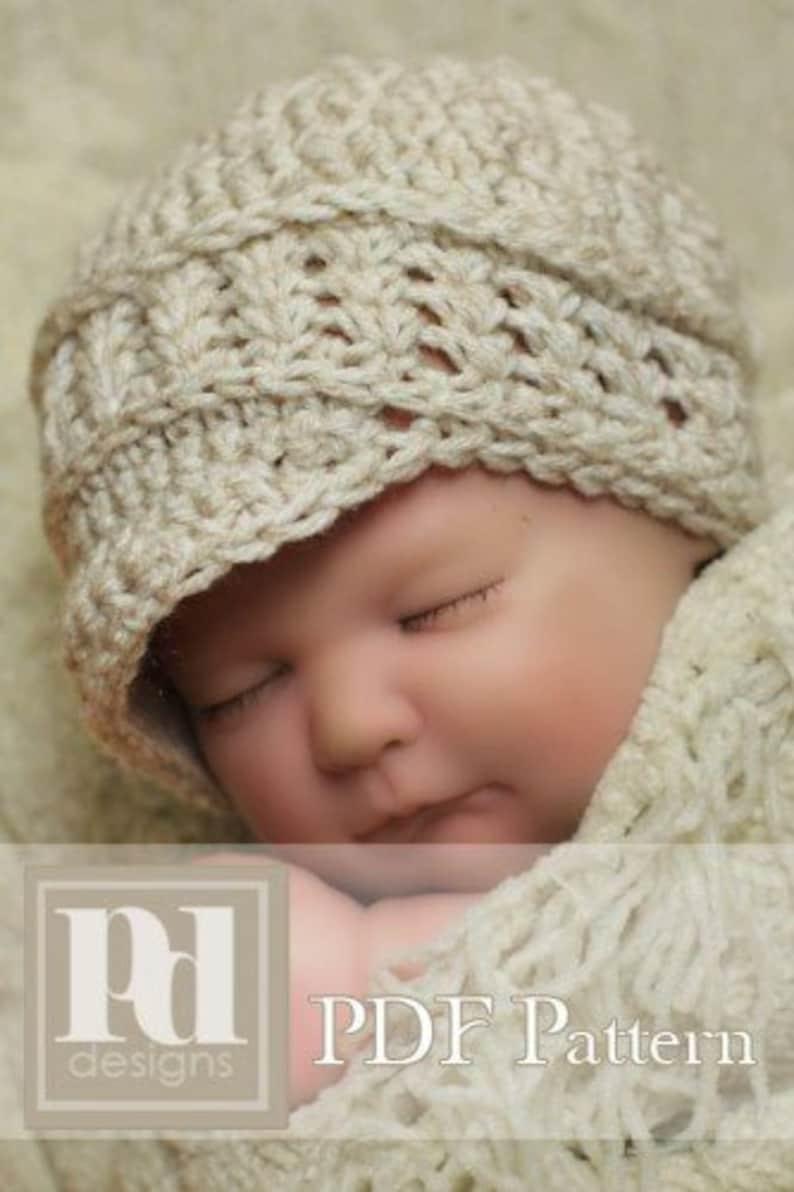 CROCHET Pattern / Newborn Newsboy Hat / Crochet Hat Pattern / image 0